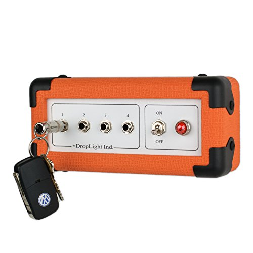 DropLight Ind. Guitar Amp Wall Key Holder with 4 Keychains. The Key Board Mini. Amp Inspired. American Made (Orange)