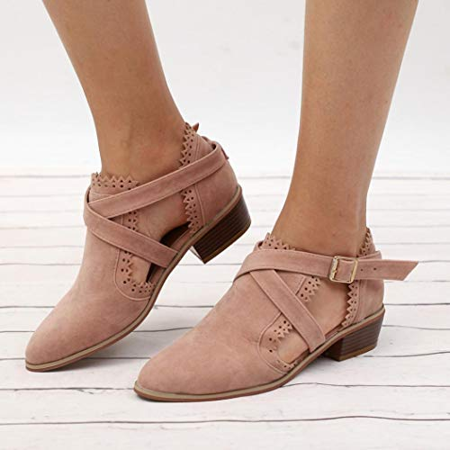 4c43bb4aff Gyoume Ankle Boots Women Cross Buckle Boots Winter Hollow Out Boots Ladies  Office Work Shoes by