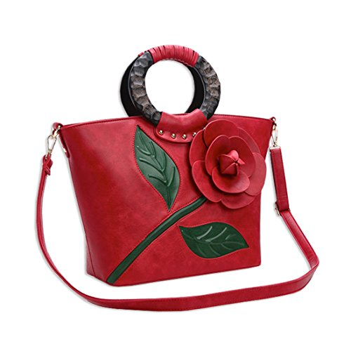 Elegant Flower Kaxidy Shoulder Messenger Body Ladies Handbags Pu Leather Cross Bags Red pROOwq
