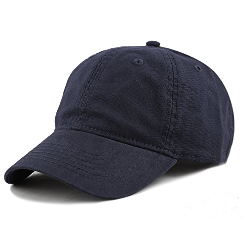 THE HAT DEPOT 100% Cotton Canvas 6-Panel Low-Profile Adjustable Dad Baseball Cap (Navy)