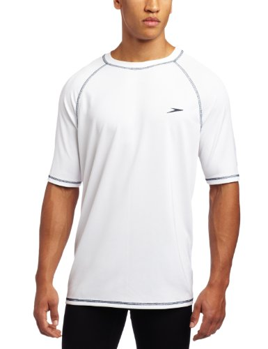 Speedo Men's UPF 50+ Easy Short Sleeve Rashguard Swim Tee, White, Large