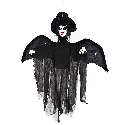 Autumn Water Halloween Horror Props Hanging Wing Ghost Haunted House Hanging Decoration Creepy Skull Ghost Terrible Sound Light up Ornaments -