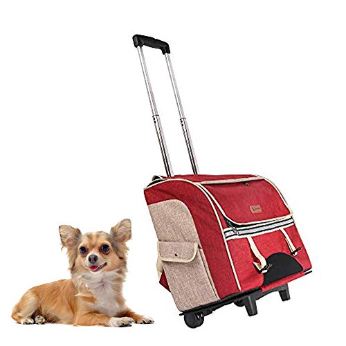 - HEELE Pet Carrier Backpack Large Pets Trolley Carrier Dog Stroller Pet Carrier Travel Pet Bag Strollers(Pets up to 40 Pounds) Ventilated Design