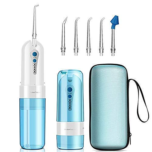 Water Flosser Cordless,KOOVON Portable Rechargeable Oral Irrigator With 4 Modes(include nose clean) & 5 Jet Tips,IPX7 Waterproof,Travel Bag (Water (Portable Oral Irrigator)