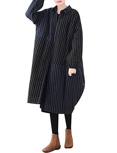 Femmes Grande Doublés Rayé Chaud Manteaux Taille Style Coton 2 Hiver Polaires Youlee fqYdwxRf