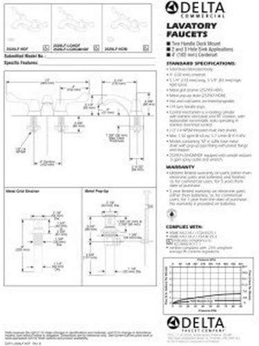 3.44 x 13.00 x 3.44 inches Chrome Delta Faucet 2529LF-LGHDF
