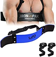 JP Arm Blaster Bicep Isolator - Double Riveted, Adjustable Strap for Curling and Well Balance Support