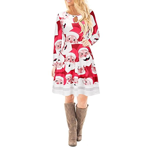 Mujer Navidad Christmas Impreso Cordón Vestir, WINWINTOM Chicas Manga Larga Mini Vestido Style4