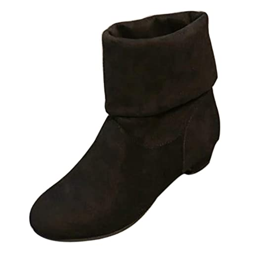 Mujer Botas Navidad Zapatos tacón Alto,JiaMeng ❤ Botas de Gamuza de Mujer de Moda Botas de Invierno Botas Dulces Elegantes Zapatos de rebaño Planos Botas ...