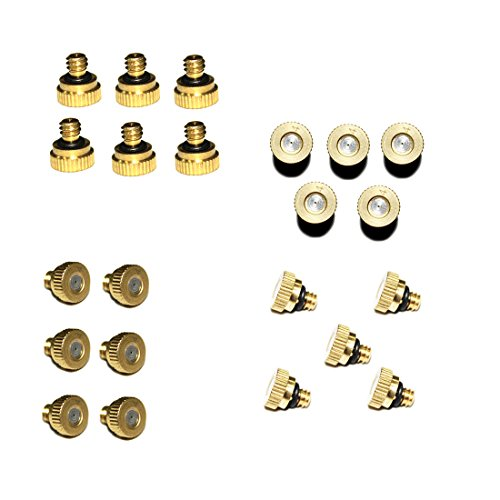 Hylaea 0.4mm 22pcs/Pack Orifice Thread 10/24 UNC Low Pressure Water Mist Nozzle, Homemade Micro Anti Drip Brass Misting Nozzles, Water Hose Misting Nozzle, Mister Nozzle For Outdoor Cooling System by Hylaea