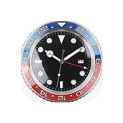 Wall Clock 1Piece Metal Watch Shape Wall Clock Calender Wall Clock with Date,Silver,38 cm