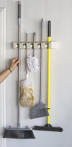 Magic Holder 5 Position Mop and Broom Holder, Floor Mop Holder, Broom Utility Holder, Storage Solutions and Organizers for Cleaning