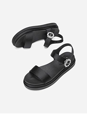 donna casual Sandali a 38 basso Pantofole Tacchi da Nero con Sandali moda estivi piatti alla alti Sandali basso tacco tacco DHG fIqzRCxq