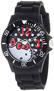 Hello Kitty Women's H3WL1045BK Bold Polka Dot Watch With Black Rubber Band