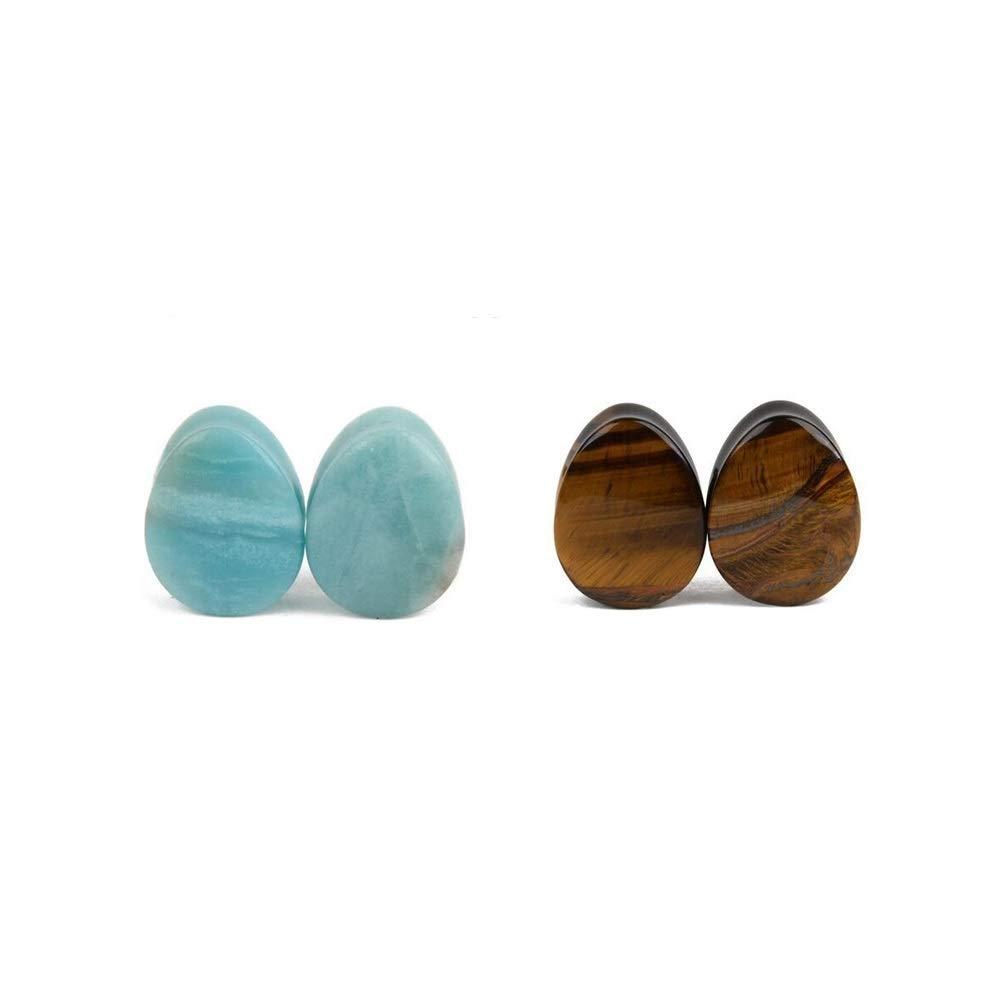 NewZenro ite Tiger Eye Teardrop Ear Gauges Plugs Tunnels Stretcher Expanders Natural Organic Stones Double Flared Earrings Piercing Jewelry Set