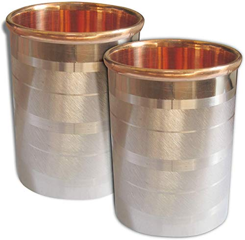 Handmade Stainless Steel Copper Glass Tumblers, Set of 3