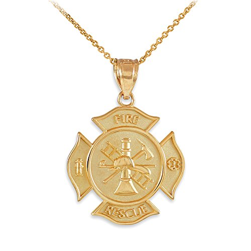 14K Yellow Gold Fire Rescue Maltese Cross Firefighter Necklace (18)