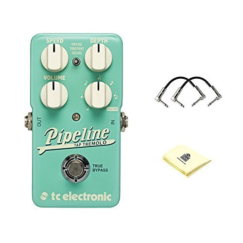 TC Electronic Pipeline Tremolo Tremolo Effects Pedal with Speed, Volume, Depth, and Rhythmic Subdivision Controls and Square Settings with 2 Patch Cable for Guitars and Zorro Sounds Guitar Cloth (Tc Chorus Electronics)