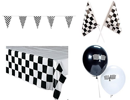 Decorations Checkered Tablecover Pennant Balloons product image