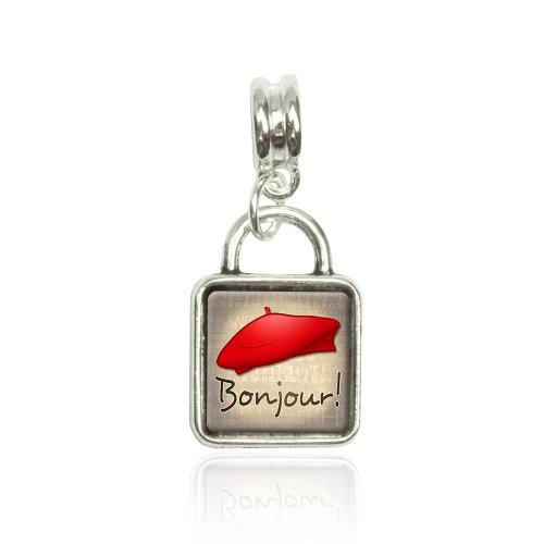 Made On Terra Red Beret Bonjour French France Euro Italian Bracelet Bead Sqr Charm