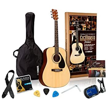 Yamaha Gigmaker Deluxe Acoustic Guitar Package with Gig Bag, Tuner, Instructional DVD, Strap, Strings, and Picks - Natural