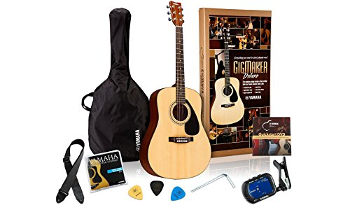 Medium Tuner - Yamaha Gigmaker Deluxe Acoustic Guitar Package with Gig Bag, Tuner, Instructional DVD, Strap, Strings, and Picks - Natural