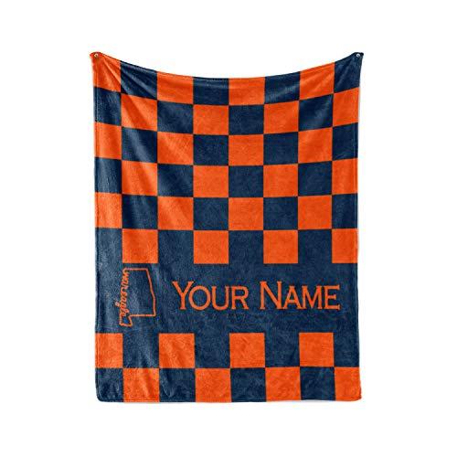 (Personalized Corner Auburn University Tigers Themed Custom Fleece Throw Blanket - Mens Womens College Football Apparel (Adult 60