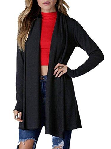 Camicetta Giacca Eleganti Giubbino Giacche Maglia Outwear A Autunno Nero Bobolily Maniche Outerwear Primaverile Lunghe Donna Monocromo Tempo Libero aqwdaAH