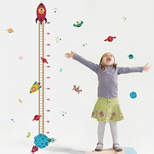 Growth Chart Wall Sticker - Witkey Spaceship Rocket growth Height Chart Wall Stickers Wall Decals Removable Art home décor PVC For Kid Room Bedroom Wallpaper