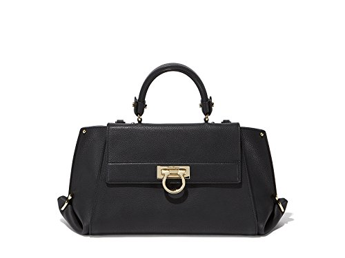 SALVATORE FERRAGAMO WOMEN'S 21F606649192 BLACK LEATHER HANDBAG