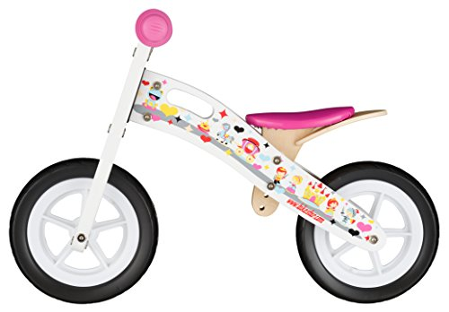 BIKESTAR-254cm-10-pulgadas-Bicicleta-sin-pedales-para-pequeos-aventureros-a-partir-de-2-aos–Edicin-de-madera-natural–Blanco–Diseo-de-la-Princesa