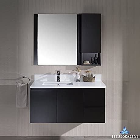 BLOSSOM 000 42 02 L WH M Monaco 42 Wall Mount Left Vanity Set With Mirror And Wall Cabinet Espresso