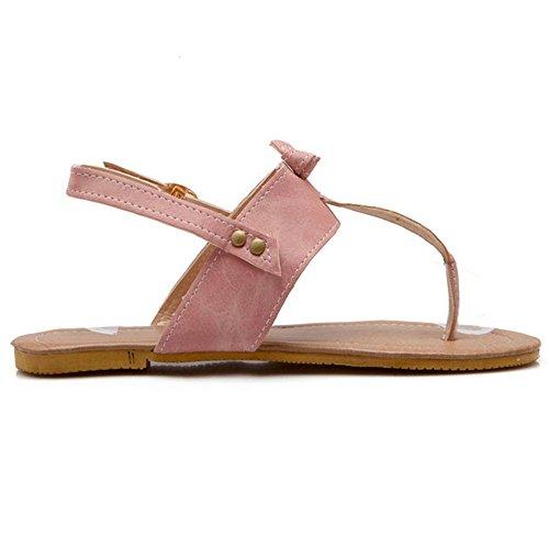 TAOFFEN Mujer Clasico Verano Sandalias Split Toe Singback Plano Zapatos Rosado