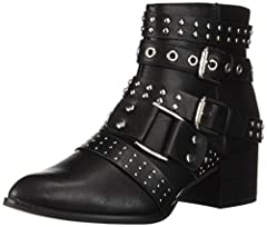 Bootie with studded strapping and buckle detailing. Smooth lining, cushioning insole for all-day comfort. Traction outsole. 2 inch heel.