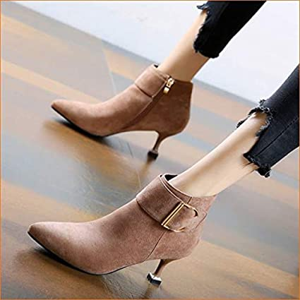 9c83fcbfb6540 Amazon.com: HYLIUGG High Heels Belt Buckle Pointed Head Commute with ...