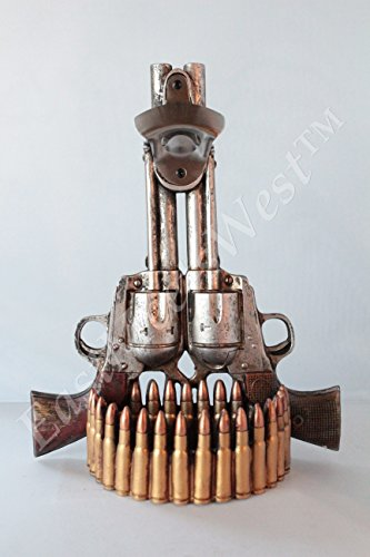 Western Cowboy Double Pistols Rustic Bottle Opener with Wall Mount Bullets Cap - Wall Bullet Mount