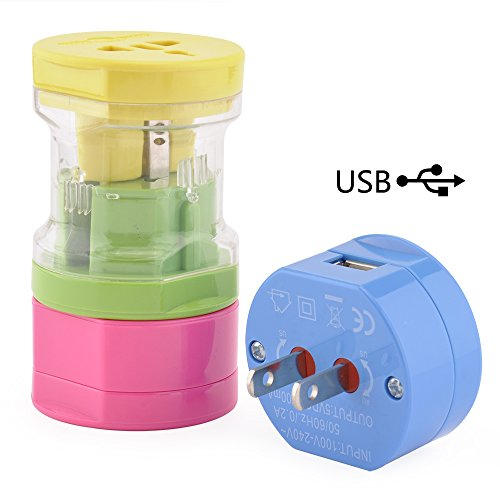 Bestten Mini Travel Adapter Set with 2.1A USB Charging Port, Portable 5-Piece Pack, Rainbow (Mini Travel Plug)