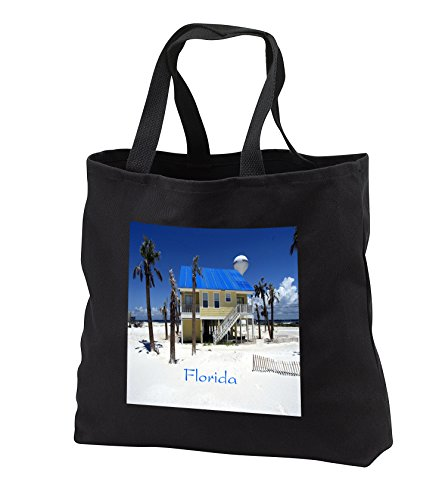 Florida - Image of Pensacola Beach - Tote Bags - Black Tote Bag 14w x 14h x 3d - Florida Shopping Pensacola