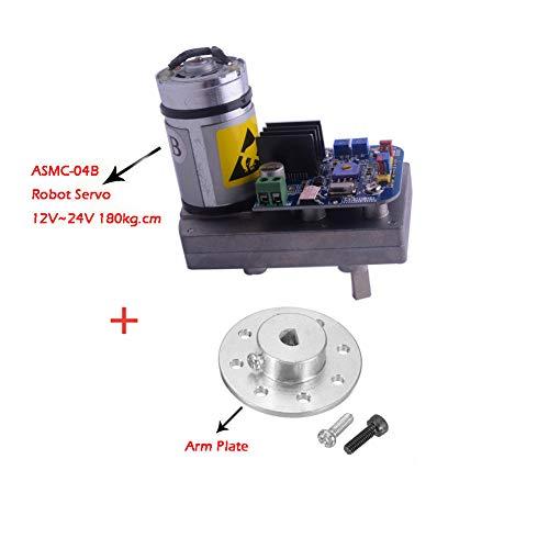 (ASMC-04B Robot Servo High Power high Torque servo Support 12V~24V 180kg.cm and Metal Steering Dedicated Large Torque Servo Special Arm Plate for ASMC ASME Series)