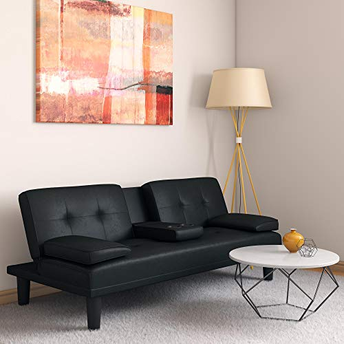 DHP Marley Sofa Sleeper with Cupholder and 2 Pillows, Black Faux Leather (Sale Pillows Sofa Leather For)