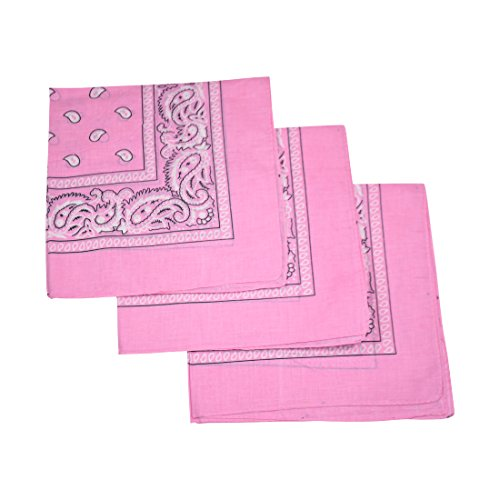 Set of 3 Large Cotton Paisley Bandanas - Light Pink -