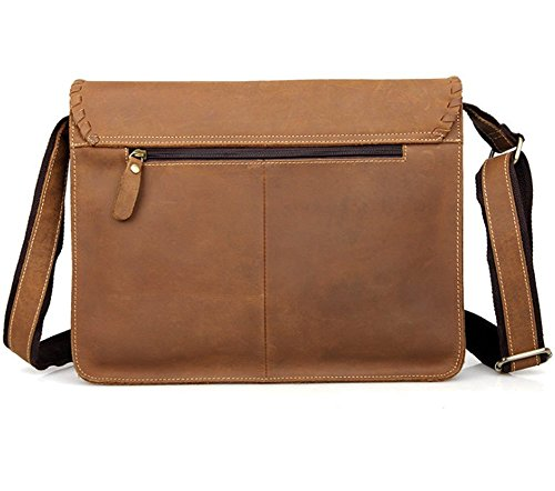 YAAGLE Echt Erste Leder Umhängetasche Herren Schultertasche Unisex Notebooktasche 14 Zoll Briefträgertasche High Qualität