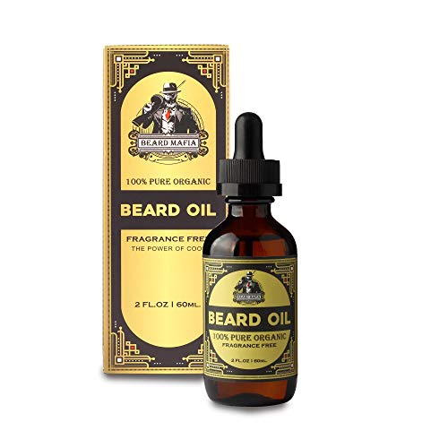 Unscented Beard Oil Conditioner for Mustache & Beard Growth Softens & Strengthens Beard Grooming Gift For Men No Leaking 100% Organic Fragrance Free 2 oz