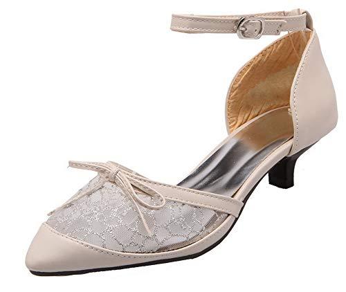 Agoolar tacco con Gmxdb010535 Beige con sintetico Women solido scarpe tacco fibbia Mini Otqwr7TxO