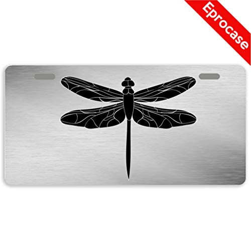 Eprocase License Plate Dragonfly License Plate Cover Decorative Car Tag Sign Metal Auto Tag Novelty Front License Plate 2 Holes (11.8