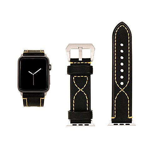 CAILIN for Apple Watch Series 3/Series 2/Series 1 Band, Buckle Cuff Apple Watch Genuine Leather Band Bracelet Wrist Watch Band for Apple Iwatch Series 3(Horse Leather) (3mm Cuff)