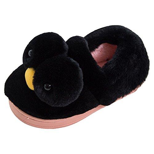 Eastlion Damen Winter Home Innenbereich Warm Halten Draussen Lovely Gelbe Ente Plüsch Hausschuhe Schuhe Schwarze Schuhe
