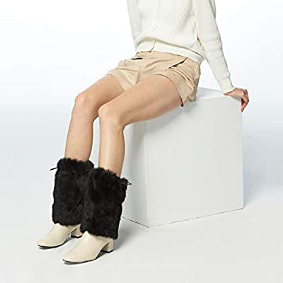 Fur Story Fur Leg Warmers Real Fur Rabbit Winter Leggings Boot Toppers For Women at Women's Clothing store