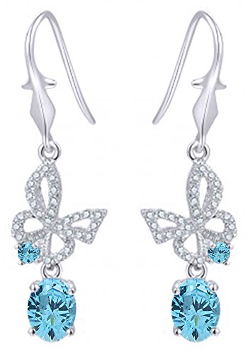 Women's Flying Butterfly Simulated Aquamarine With Cubic Zirconia Drop Earrings in 14k White Gold Over Sterling Silver