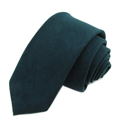 (Elfeves Men's Skinny Tie Causal Wool Cashmere Blend Solid Color Slim cut Necktie (One Size, dark peacock))